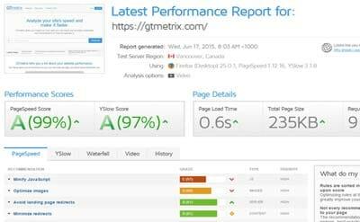 GMetrix page speed analysis